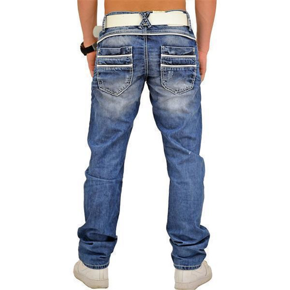 Cipo & Baxx C 1127 Herren Jeans Hose Denim Used Look Regular Jeanshose blau blue W28 L32