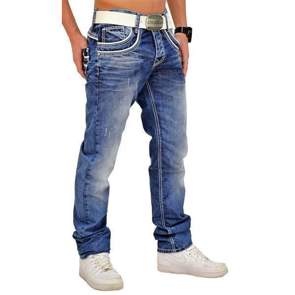 Cipo & Baxx C 1127 Herren Jeans Hose Denim Used Look Regular Jeanshose blau blue W30 L34