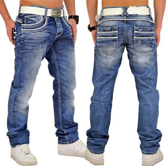Cipo & Baxx C 1127 Herren Jeans Hose Denim Used Look Regular Jeanshose blau blue W33 L34