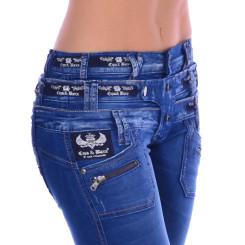 Cipo & Baxx CBW 282 Damen Frauen Jeans Hose Jeanshose blau blue dreifach Bund W32 L32
