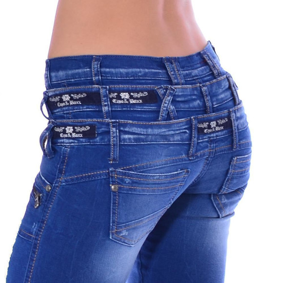 Cipo & Baxx CBW 282 Damen Frauen Jeans Hose Jeanshose blau blue dreifach Bund W29 L34