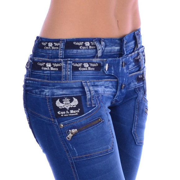 Cipo & Baxx CBW 282 Damen Frauen Jeans Hose Jeanshose blau blue dreifach Bund W31 L34