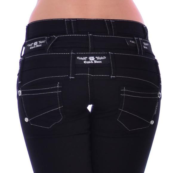 Cipo & Baxx CBW 313 Damen Frauen Jeans Hose Stretch schwarz black dreifach Bund