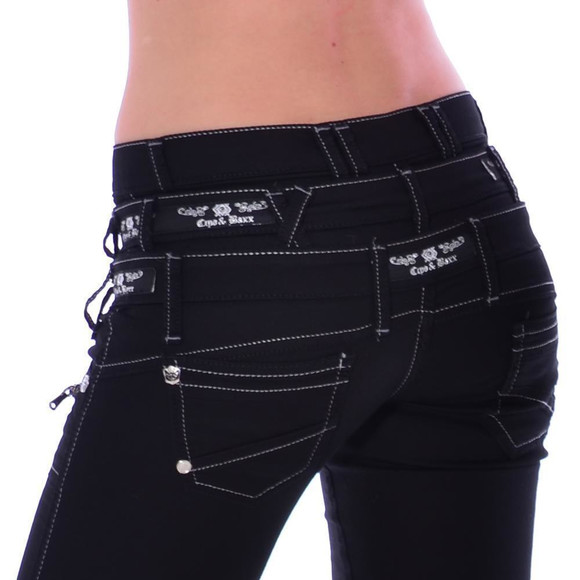 Cipo & Baxx CBW 313 Damen Frauen Jeans Hose Stretch schwarz black dreifach Bund W31 L34