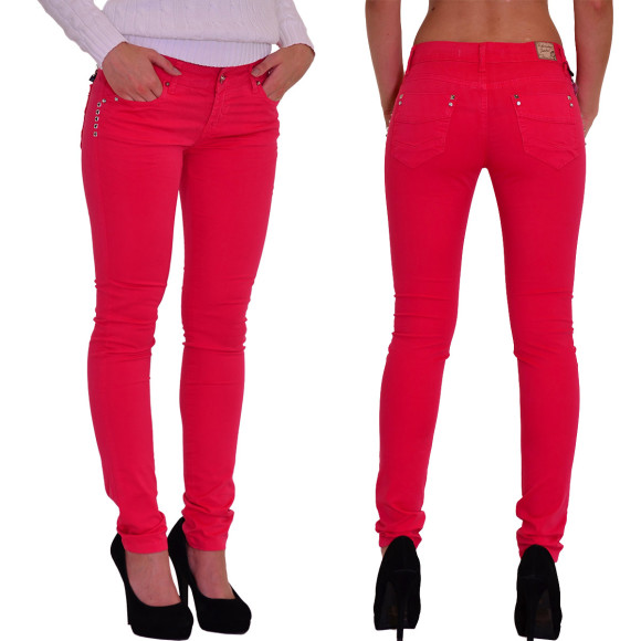 Redbridge Damen Chino Hose Skinny Slim Fit ROT RBW 3009
