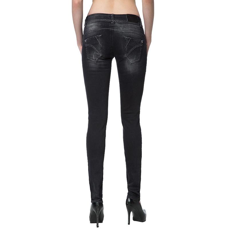 cipo baxx damen jeans stretch denim hose schwarz black used look cb 73 37. Black Bedroom Furniture Sets. Home Design Ideas