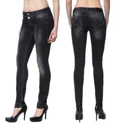 Cipo & Baxx CBW 655 Damen Jeans Stretch Denim Hose Frauen Jeanshose used schwarz W27 L34