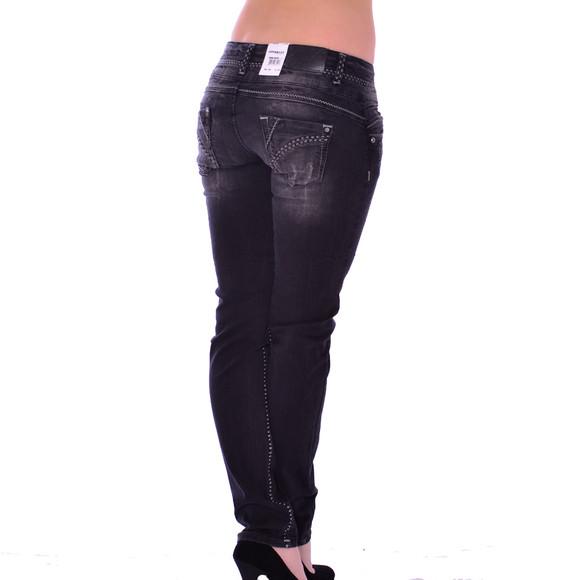 Cipo & Baxx CBW 655 Damen Jeans Stretch Denim Hose Frauen Jeanshose used schwarz W28 L34