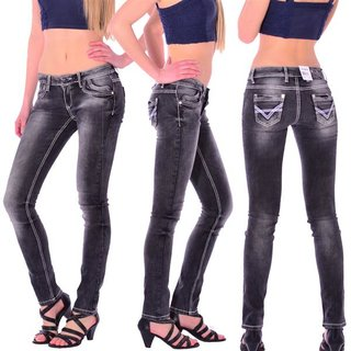 Cipo & Baxx C 46007 Damen Frauen Jeans Hose Jeanshose anthrazit schwarz black