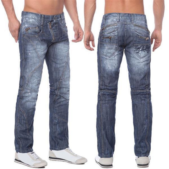 Cipo & Baxx C 751 Herren Denim raw Jeans Hose Jeanshose Männer Zipper blau blue W34 L34