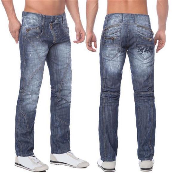 Cipo & Baxx C 751 Herren Denim raw Jeans Hose Jeanshose Männer Zipper blau blue W38 L36