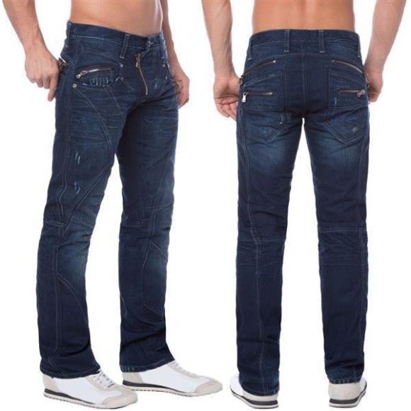 Cipo & Baxx C 768 Herren Jeans Hose Denim dark blue dunkel blau Zipper Regular W33 L34