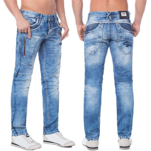 Cipo & Baxx C 1150 Herren Jeans Hose Denim blue blau Zipper Regular Straight Cut W38 L34