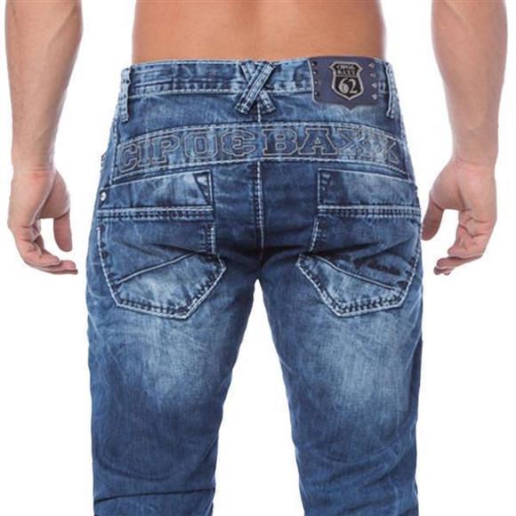 Cipo & Baxx C 1178 Herren Denim Jeans Hose Männer Jeanshose blau blue Zipper