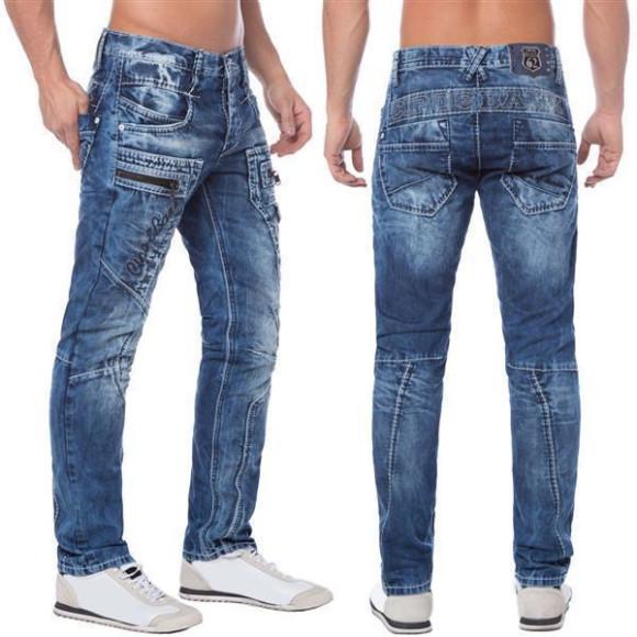 Cipo & Baxx C 1178 Herren Denim Jeans Hose Männer Jeanshose blau blue Zipper W38 L34