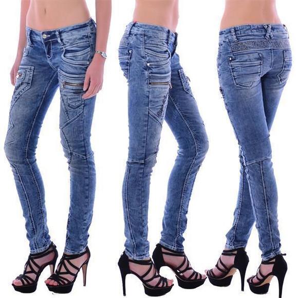 Cipo & Baxx WD 200 Damen Frauen Jeans Denim Jeanhose Zipper blau blue Slim Fit