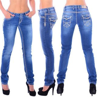 Cipo & Baxx WD 201 Damen Denim blue Jeans Skull dicke weiße Nähte slim fit blau