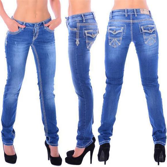 Cipo & Baxx WD 201 Damen Denim blue Jeans Skull dicke...