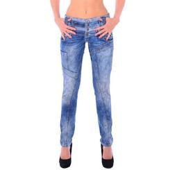 Cipo & Baxx WD 245 Damen Frauen Jeans Slim Fit Röhre blau blue dreifach Bund