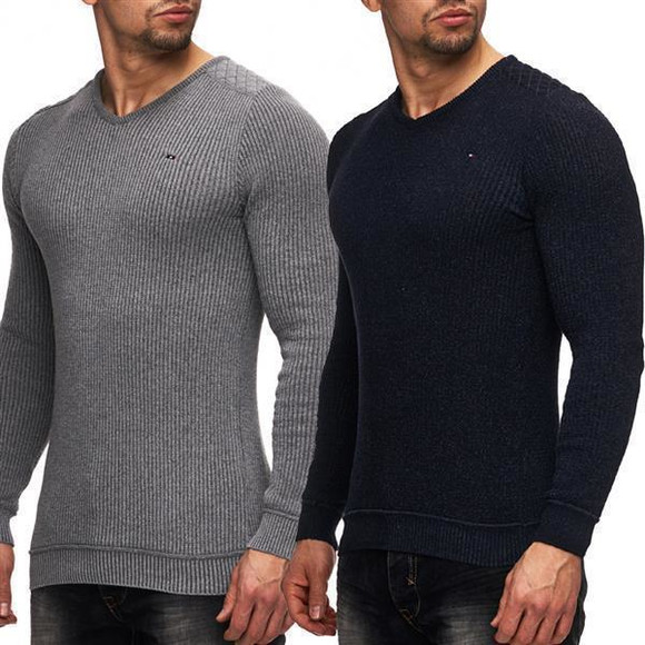 Ce & Ce Fashion by Wasabi Herren Feinstrick Pullover Grey...