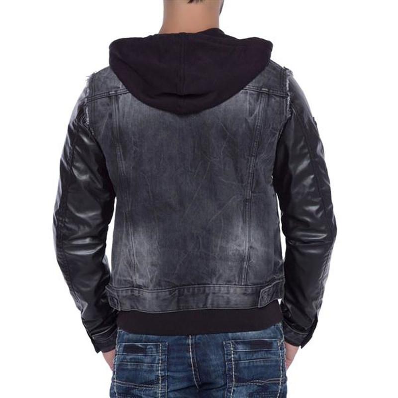 cipo baxx herren jeans jacke mit kunstleder kapuzenjacke. Black Bedroom Furniture Sets. Home Design Ideas