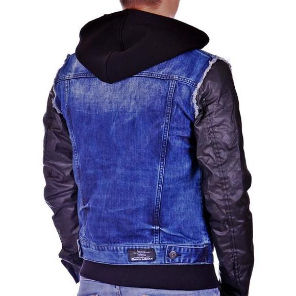 Cipo & Baxx C 1290 Herren Jeans Biker Jacke Kunstleder Sweat Double Optik Zipper