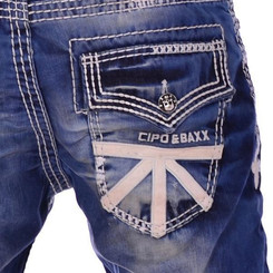 Cipo & Baxx CD 149 Herren Jeans Denim blau blue Jeanshose Men dicke weiße Nähte