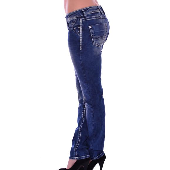 Cipo & Baxx CBW 639 Damen Jeans blau blue Stretch Jeanshose Frauen weiße Nähte W29 L32