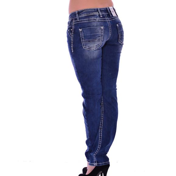 Cipo & Baxx CBW 639 Damen Jeans blau blue Stretch Jeanshose Frauen weiße Nähte W31 L32