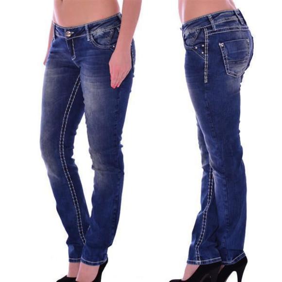 Cipo & Baxx CBW 639 Damen Jeans blau blue Stretch Jeanshose Frauen weiße Nähte W26 L34