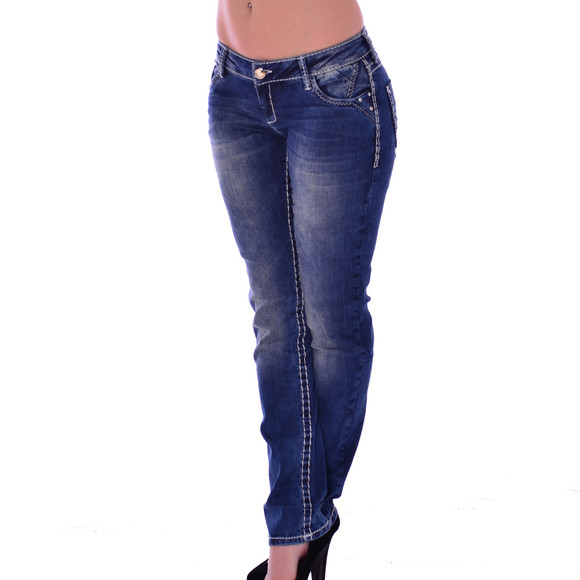 Cipo & Baxx CBW 639 Damen Jeans blau blue Stretch Jeanshose Frauen weiße Nähte W27 L34