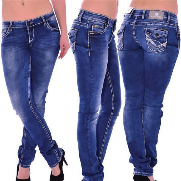 Cipo & Baxx Damen Stretch Jeans blau blue CBW-658
