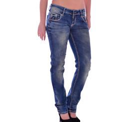 Cipo & Baxx WD 153 Damen Jeans Hose blau blue Frauen Jeanshose Used Look Denim W27 L32
