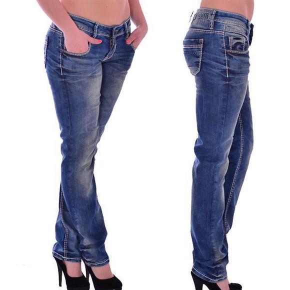 Cipo & Baxx WD 153 Damen Jeans Hose blau blue Frauen Jeanshose Used Look Denim W32 L32