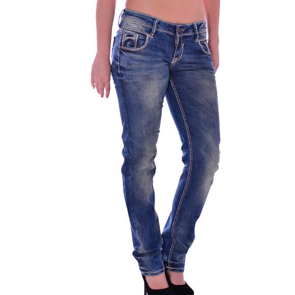 Cipo & Baxx WD 153 Damen Jeans Hose blau blue Frauen Jeanshose Used Look Denim W27 L34