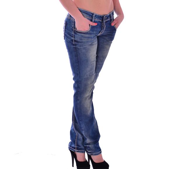 Cipo & Baxx WD 153 Damen Jeans Hose blau blue Frauen Jeanshose Used Look Denim W28 L34