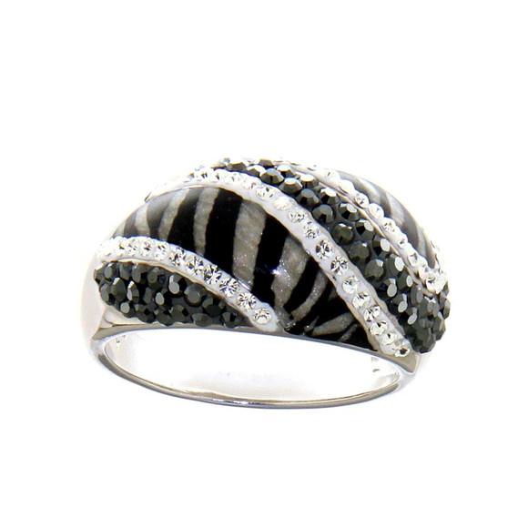 Silber-Ring m. Swarovski, schwarz-silber