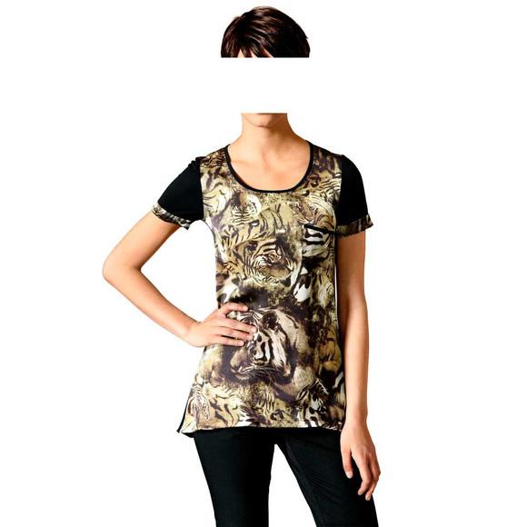 Animalprint-Shirt, schwarz-goldfarben von Mandarin