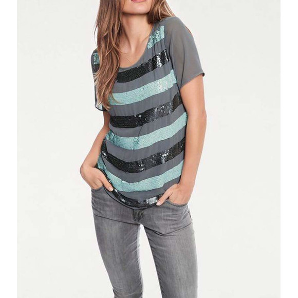 Paillettenshirt, mint-grau von Ashley Brooke