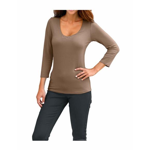 Shirt m. Strass, taupe von Ashley Brooke