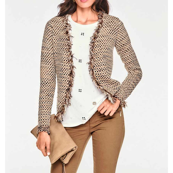 Bändchen-Strickjacke, beige-cognac von Ashley Brooke