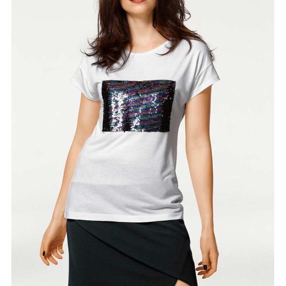 Shirt mit Pailletten, ecru von Rick Cardona