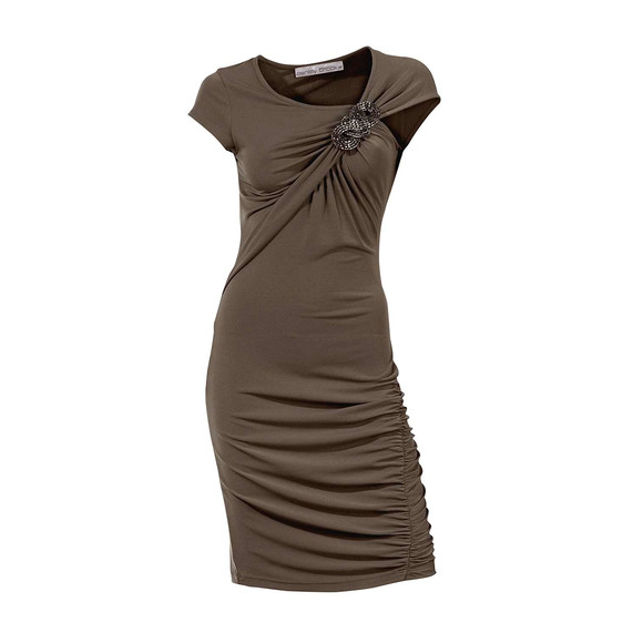 Kleid m. Brosche, taupe von Ashley Brooke