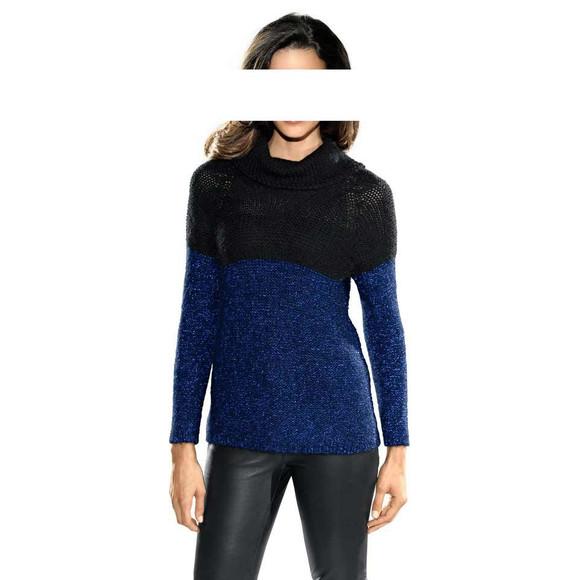 Rollkragenpullover, schwarz-blau von PATRIZIA DINI