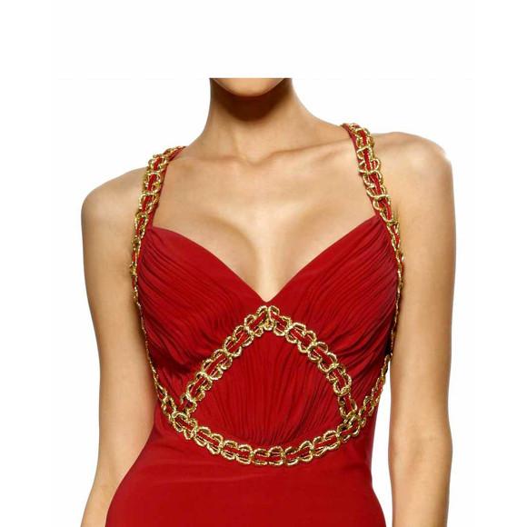 Abendkleid, rot-gold von Heine