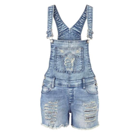 Latzjeans-Shorts, blau-used von CIPO & BAXX