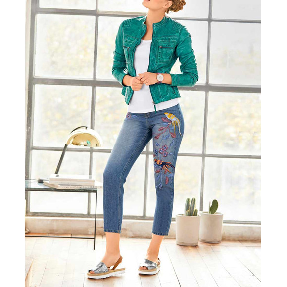 Slim-Fit-Jeans m. Stickerei, blau von Heine - Best...