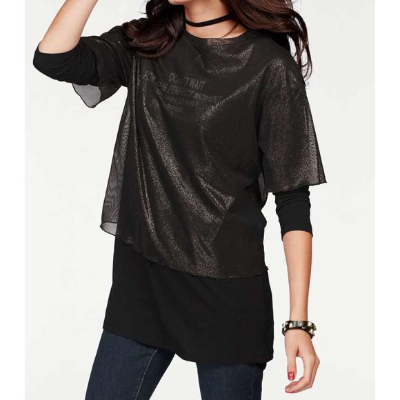 2-in-1-Longshirt, schwarz-gold von Aniston