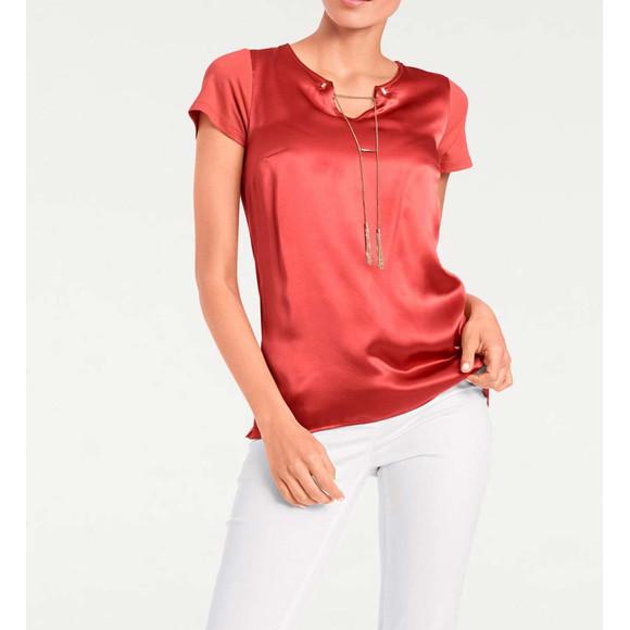 Shirt m. Seide u. Kette, rot von PATRIZIA DINI