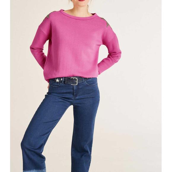 Sweatshirt m. Strasssteinen, pink von Heine